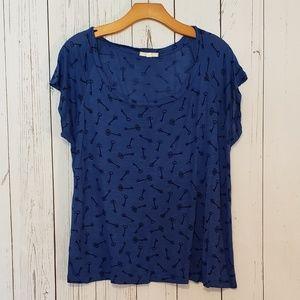 Pleione Key Print T Shirt Top Large Blue Black